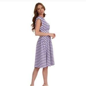 Kate Spade Purple & White Zig Zag Stretch Dress M